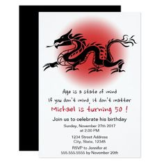 Asian longevity symbol chinese birthday invitation chinese chinese traditional dragon mans birthday party card filmwisefo