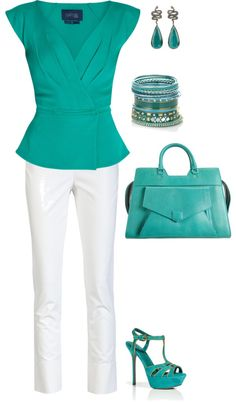 """""""Be Green...summer work outfit"""" by amythystqu on Polyvore"""