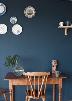 Dark blue colour for bedroom wall