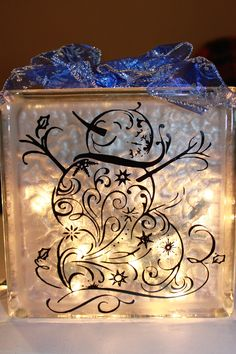 Snowman Glass Block with Vinyl and Lights by WorldofAKD on Etsy