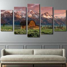 Barn Rocky Mountains Cabin Landscape – Nature 5 Panel Canvas Art Wall Decor