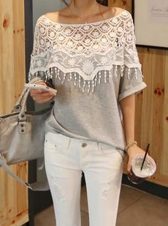 Adorable ladies cutout shirt with laces and white jeans combination
