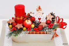 Stroik świąteczny, dekoracja bożonarodzeniowa, stroik bożonarodzeniowy, stroik boże narodzenie, stroik czerwony złoty, stroik z aniołkiem, stroik metalowa osłonka, christmas dcoration
