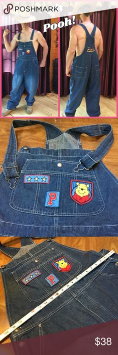 Winnie The Pooh Oversized Disney overalls modeled by Sven, who is wearing sleep pants underneath! Marked as XL; please see all measurements as these are not a fitted item.  Size in listing was estimated, so PLEASE measure! Painter's pants style.  100% cotton. Disney Jeans Overalls