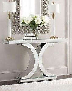 Splendora Mirrored Console Neiman Marcus Horchow Hollywood Glam Modern Table | eBay
