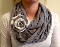 Jersey Grey Infinity Scarf with Scarf Pin (Available in Grey/White, University of Kentucky), White/Navy,Solid White