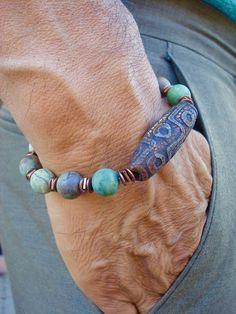 Tibetaanse geestelijke armband met Semi Precious Matte Opal