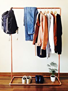 Copper pipe clothes rack / 100cm long / Industrial from INDUSTRIdesign by DaWanda.com