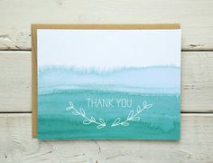 Watercolor Ombre Thank You Cards Watercolor Cards by saidinlayers