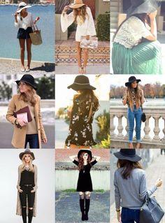 Vários modelos com lindos chapéus.