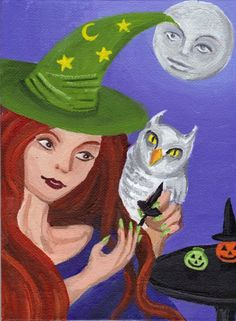 Nail polish witch art 5 x 7 repro print moon owl by ArtBySarada