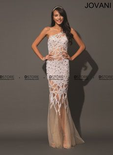 One Shoulder Sheer Sequin Gown Reyna 88469 : DSTORE USA, Miami Premiere Eveningwear Boutique