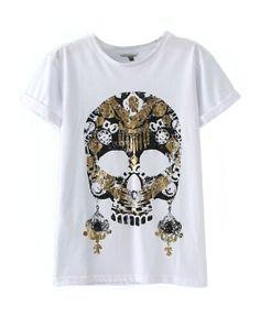 Pure Color Skull Print T-Shirt