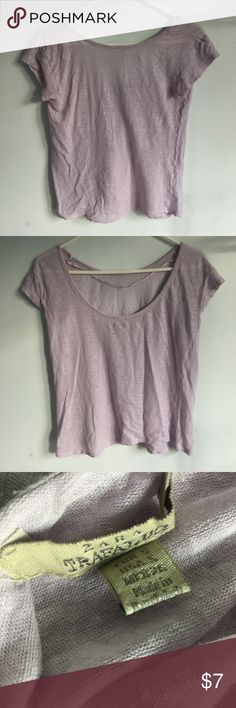 "Zara Pastel Purple Top This Zara Trafaluc Purple Top is somewhat see-through. There are no stains, rips, or tears. Tag says size ""S"". 100% linen. Please let me know if you have any questions. Zara Tops Tees - Short Sleeve"