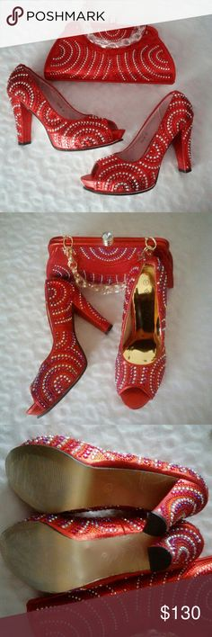 Carol Party Italian Matching Shoe & Bag Set African wedding shoes and bag set  Women pumps with rhinestones detail Italian shoes Shoes