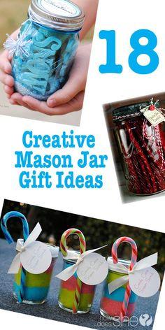 18 Creative Mason Jar Gift Ideas found at howdoesshe.com