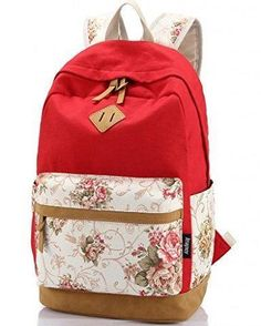 Leaper Casual Style Lightweight Canvas Laptop Backpack Cute Travel School College Shoulder Bag/Bookbags/Daypack for Teenage Girls/Students/Women-With Laptop Compartment Red Stylish Backpacks, Cute Backpacks, Girl Backpacks, School Backpacks, Canvas Backpacks, Leather Backpacks, Leather Bags, Laptop Bag For Women, Backpack For Teens