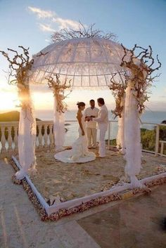 I love the pavilion! Would be even greater right on the beach. US Virgin Islands Destination Wedding ~ Romantic beach front wedding under a flower decorated pavilion is the ultimate way to create a fairytale wedding. Wedding Ceremony Ideas, Our Wedding, Wedding Venues, Dream Wedding, Wedding Gazebo, Beach Ceremony, Wedding Canopy, Altar Wedding, Wedding Photos