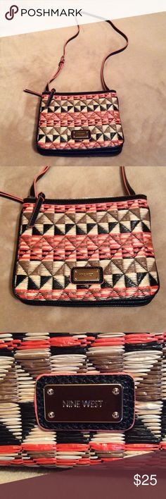 """Nine West purse Nine West cross body bag. Beautiful woven straw look in black, peach and tan. Measures 9"""" wide and 8"""" deep with two zippered compartments separated by a clasped pocket in between. Buckled shoulder strap.  New. Nine West Bags Crossbody Bags"""