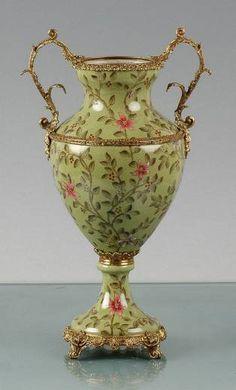 Floral Green Porcelain Vase