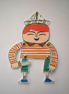 Wallace gosta de fingir que é um bravo soldado quando brinca usando seu chapéu feito de jornal e com sua espada de madeira! Walace é impresso a partir de uma ilustração original minha. Ele é articulado e pode ser usado como marcador de livros ou até mesmo como um móbile se você amarrar um cordãozinho nele! Ele é impresso em papel 200g *LOJISTA: ESCREVA-ME PARA SABER PREÇOS ESPECIAIS R$32,00