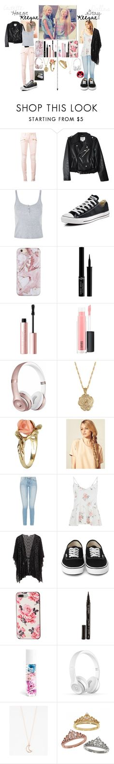 """Two stars are brighter than one"" by frootloop16 ❤ liked on Polyvore featuring Balmain, Kate Spade, Topshop, Converse, Giorgio Armani, Too Faced Cosmetics, MAC Cosmetics, Beats by Dr. Dre, 2028 and Vintage"