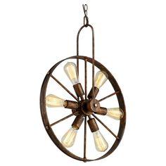 Gillock Wagon Wheel 6-Light Sputnik Chandelier