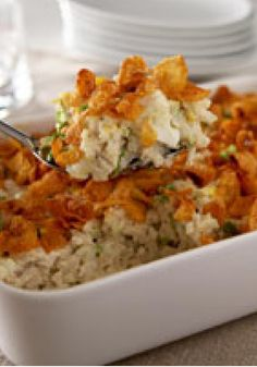 Creamy Chicken Casserole -- Your family's favorite chicken-and-rice recipe just got a whole lot easier. The creamy sauce and crunchy topping make for a great weeknight casserole.