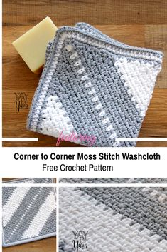 Corner to Corner Moss Stitch Washcloth -Soft And Beautiful - - This soft Corner to Corner Moss Stitch Washcloth features a diagonal stripe pattern with a textured twist but you can crochet yours with no stripes at all! Crochet Hot Pads, C2c Crochet, Crochet Dishcloths, Crochet Crafts, Crochet Projects, Free Crochet, Washcloth Crochet, Crochet Birds, Crochet Food