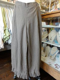 Garbo Pant in Mud by Hearts Desire. Linen clothing pants with ruffles on hem. Available at MimiBella in Bellville and Round Top, Texas.  fb.com/mimibellafinelinenwear