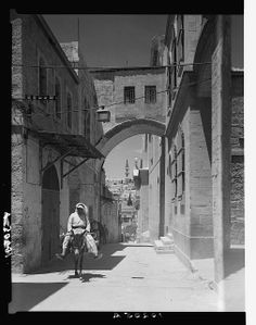 Ecce Homo arch, man on donkey, 1934-1939. Creator(s): American Colony (Jerusalem). Photo Dept., photographer. Matson (G. Eric and Edith) Photograph Collection. Repository: Library of Congress Prints and Photographs Division Washington, D.C. 20540 USA