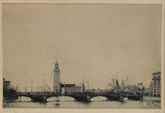 iamjapanese:  Axel Fridell(Swedish, 1894-1935)  Stadshuset i Stockholm I    1925  etching