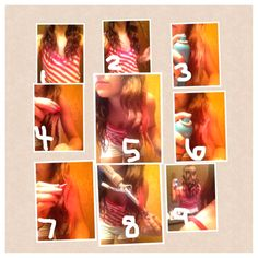 Chalk hair color using soft pastel chalks, do not use oil pastels or sidewalk chalk! 1. Style your hair however you like.  2. Pick a piece to start with. 3. Spray your hair with hairspray (wait for the spray to mostly dry before going to step 4). 4. Pick your color chalk and color your hair. 5. (colored piece). 6. Spray a little hairspray on the colored piece. 7. Color it again. 8. Curl/straighten to lock in the color. 9. Tada! Colored hair! Tips: gloves are a good idea, reds and pinks tend…