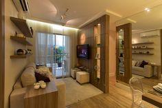 Living ampliado do apartamento de 46 m² do Portal do Paço