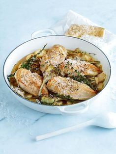 Chicken in white wine with lemon potatoes :: Donna Hay Healthy Cooking, Cooking Recipes, Healthy Recipes, Cooking Tips, White Wine Chicken, Donna Hay Recipes, Lemon Potatoes, Savoury Dishes, Chicken Recipes