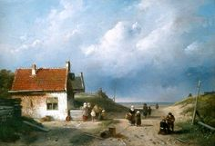 Charles Henri Joseph Leickert (1816-1907) Een doorkijkje naar zee, dat misschien in de buurt van het Schuitengat heeft gelegen of in de fantasie van Charles Leickert. (Coll. Simonis&Buunk, Ede)