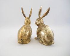 Vintage Large Brass Rabbit Duo by NeedorWant on Etsy