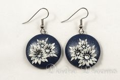 Snowy Nights Art Deco Flower Earrings by DeidreDreams