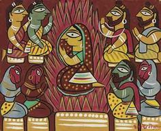 Sita by Jamini Roy Victoria and Albert Museum . From the website: Jamini Roy was one of the most important artis. Phad Painting, Worli Painting, Saree Painting, Watercolour Paintings, Madhubani Art, Madhubani Painting, Indian Folk Art, Indian Artist, Jamini Roy