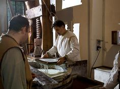 Paper making at medieval paper mill Fabriano