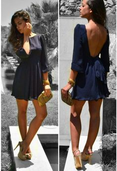 navy, low back dress