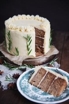 baked apple cake with cinnamon frosting {love the sprigs of rosemary}