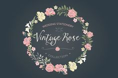 Vintage Rose wedding set by Lisa Glanz on @creativemarket