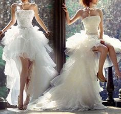 ALL SIZES FASHIONABLE SHORT FRONT WITH TRAIL TAIL WEDDING DRESS BRIDAL GOWN NWT