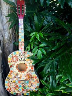 Mosaic Boho Guitar made by Fine China Mosaics