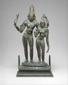 Shiva Embracing His Consort, Uma (Alinganamurti).  Chola period (880–1279), late 11th century. India (Tamil Nadu). Copper alloy.  Image credit: The Metropolitan Museum of Art