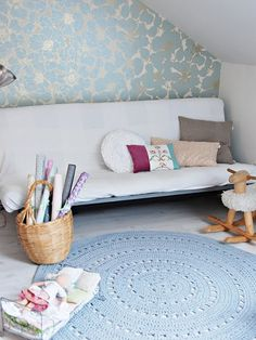 A creative little wallpapered craft corner with large handmade crochet rug . Kids Room, Handmade Uk, House Styles, Kids Deco, Bedroom Inspirations, Rugs, Craft Corner, Wallpaper Crafts, Interior Design Crafts