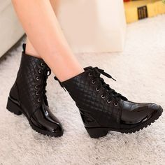 black boots,fashion lacing riding boots,womens motorcycle boots,biker boots from Boutiquewomenshopping