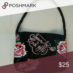 Ed Hardy purse. Fabric purse with drawn by ed hardy 1972 live eternal. Never used. Lining and exterior are immaculate. Ed Hardy Bags Shoulder Bags