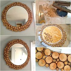 "Save those scrap branches off the next trees you have trimmed. A little time with a saw produces a pile of various sized crosscut wood ""coins"" that can be used to frame a mirror, a picture, mosaic a table top. The ideas are endless!"